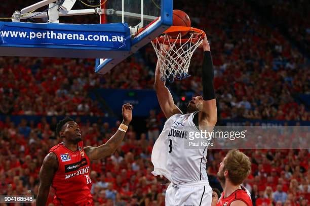 Josh Boone of United dunks the ball during the round 14 NBL match between the Perth Wildcats and Melbourne United at Perth Arena on January 12 2018...