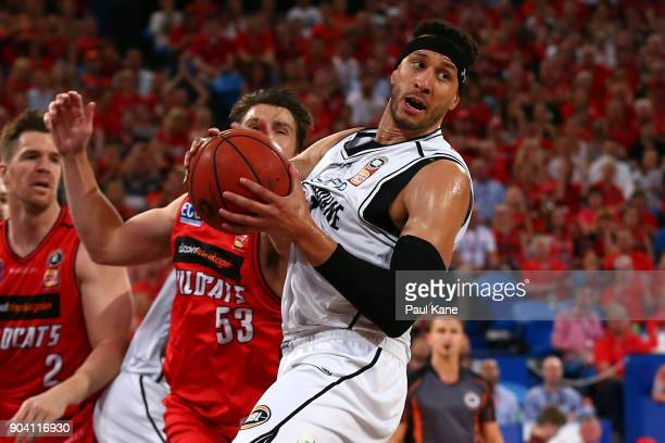 Josh Boone of United rebounds during the round 14 NBL match between the Perth Wildcats and Melbourne United at Perth Arena on January 12 2018 in...
