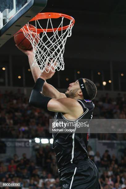 Josh Boone of United shoots a basket during the round nine NBL match between Melbourne United and the Sydney Kings at Hisense Arena on December 11...
