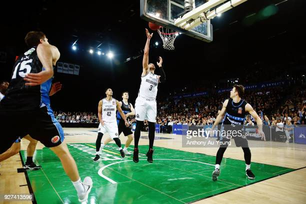 Josh Boone of United with the put back in the final second to win game two of the NBL semi final series between Melbourne United and the New Zealand...