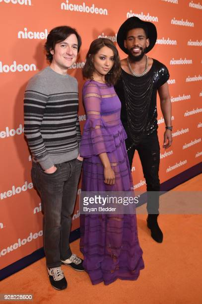 Josh Brener Kat Graham and Brandon Mychal Smith attend the Nickelodeon Upfront 2018 at Palace Theatre on March 6 2018 in New York City