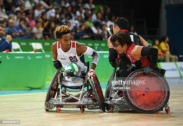 Josh Brewer of United States competes during Wheelchair Rugby match between United States and Japan on day 9 of the Rio 2016 Paralympic Games at on...