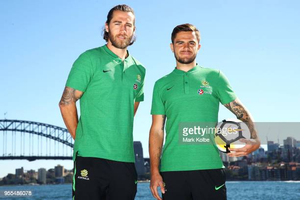 Josh Brillante and Josh Risdon pose after the Australian Socceroos World Cup Preliminary Squad Announcement at Lady Macquarie's Chair on May 7 2018...