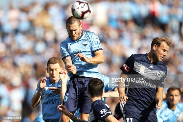 Josh Brillante of Sydney FC heads the ball away during the round five ALeague match between Sydney FC and Melbourne Victory at WIN Jubilee Stadium on...