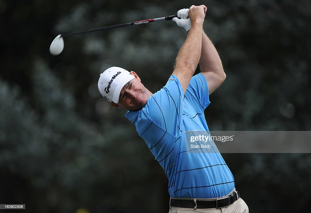 Josh Broadaway hits a tee shot on the 14th hole during the practice round for the Colombia Championship at Country Club de Bogota on February 27, 2013 in Bogota, Colombia.