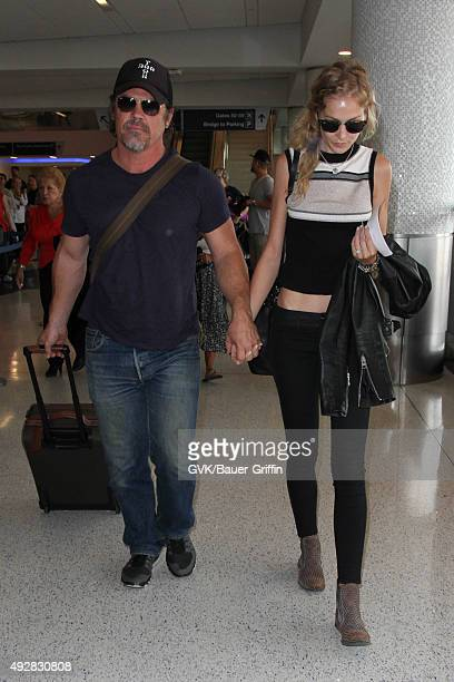 Josh Brolin and Kathryn Boyd are seen at LAX on October 15 2015 in Los Angeles California