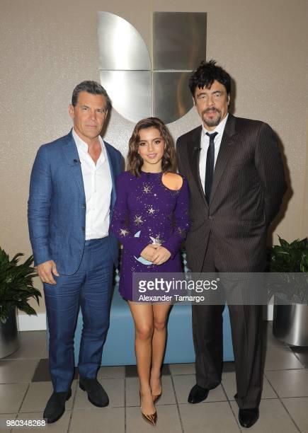 Josh Brolin Isabella Moner Benicio del Toro are seen on the set of Despierta America at Univision Studios to promote the film Sicario Day of the...