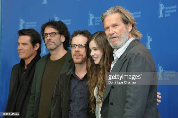 Josh Brolin Joel Coen Ethan Coen Hailee Steinfeld and Jeff Bridges attend the 'True Grit' Photocall during the opening day of the 61st Berlin...