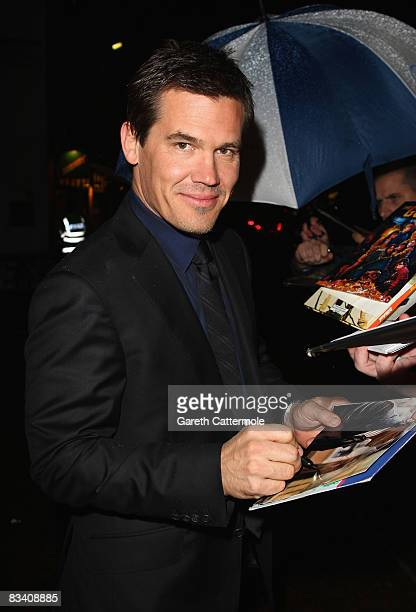 Josh Brolin signs autographs at the screening of 'W' during the BFI 52nd London Film Festival at the Odeon Leicester Square on October 23 2008 in...