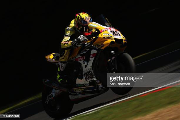 Josh Brookes of Anvil Hire Tag Racing Yamaha team rides during practice for the British Superbike Championship at Brands Hatch on July 21, 2017 in...
