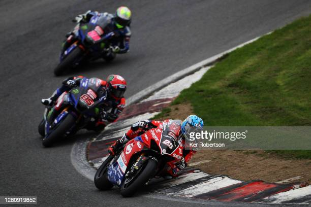 Josh Brookes of Australia and VisionTrack Ducati leads from Tarran Mackenzie of McAMS Yamaha and Jason O'Halloran of McAMS Yamaha in the final race...