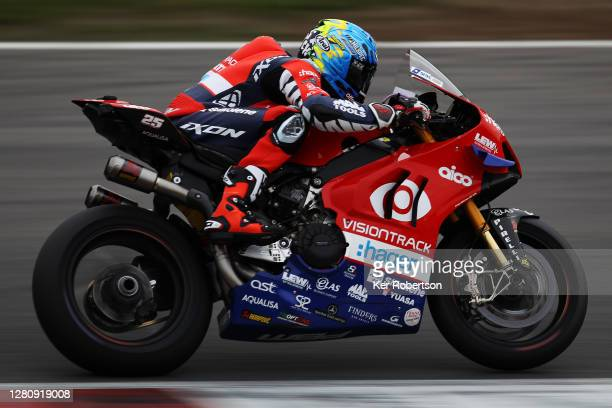Josh Brookes of Australia and VisionTrack Ducati rides in the final race of the 2020 Bennetts British Superbike Championship at Brands Hatch on...