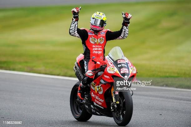 Josh Brookes of Australia celebrates after winning Race Two of the British Superbike Championship at Brands Hatch on June 16, 2019 in Longfield,...