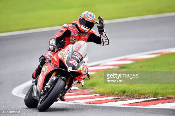 Josh Brookes of Australia waves the crowd after the British Superbike Championship at Oulton Park on September 08, 2019 in Chester, England.