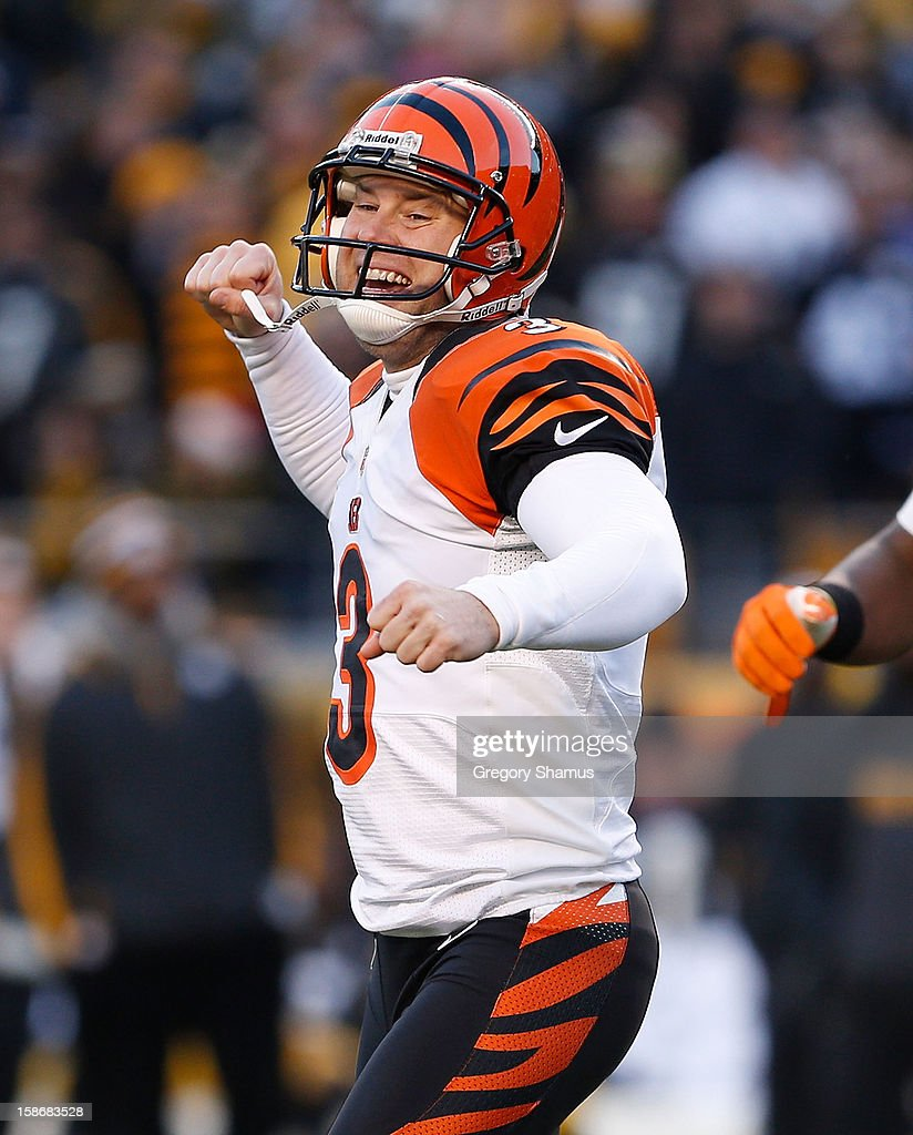 Josh Brown #3 of the Cincinnati Bengals reacts after a late fourth quarter field goal to beat the Pittsburgh Steelers 13-10 at Heinz Field on December 23, 2012 in Pittsburgh, Pennsylvania.