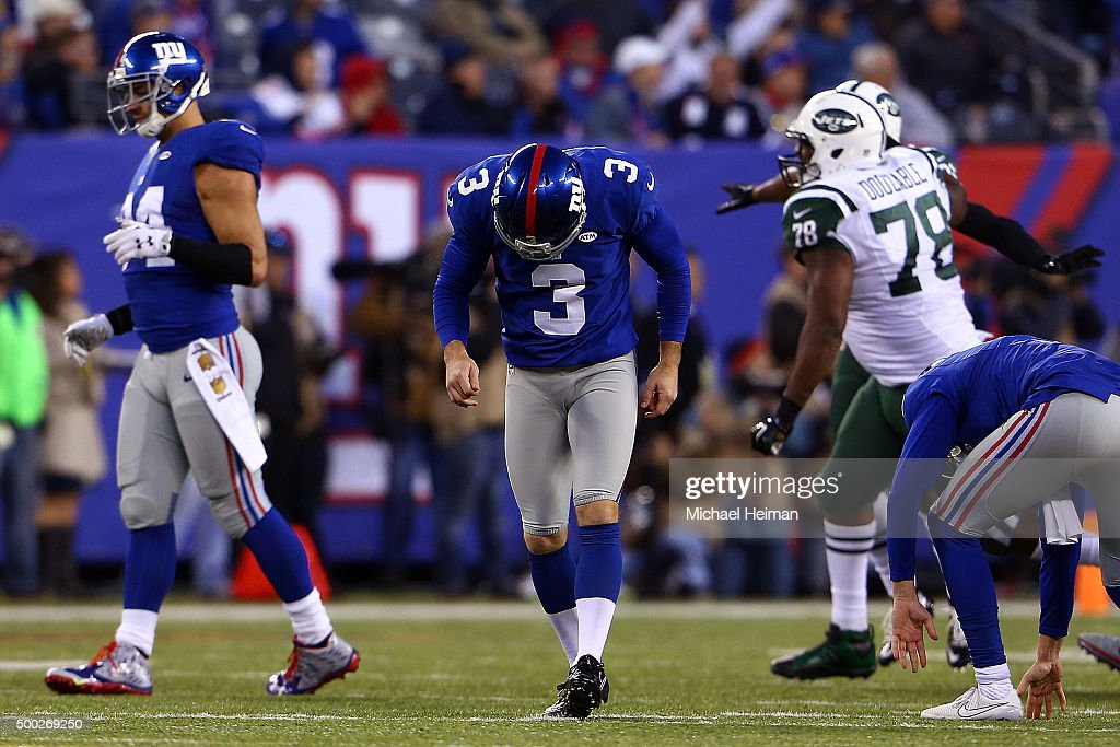 Josh Brown #3 of the New York Giants reacts after missing a game tying field goal in overtime against the New York Jets at MetLife Stadium on December 6, 2015 in East Rutherford, New Jersey. The Jets won by a score of 23-20.