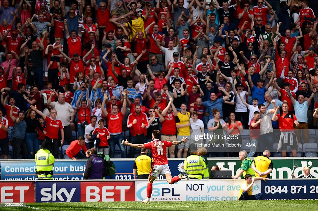Josh Brownhill of Barnsley celebrates scoring a goal to make the score 1-4 during the Sky Bet League One match between Wigan Athletic and Barnsley at DW Stadium on May 8, 2016 in Wigan, England.