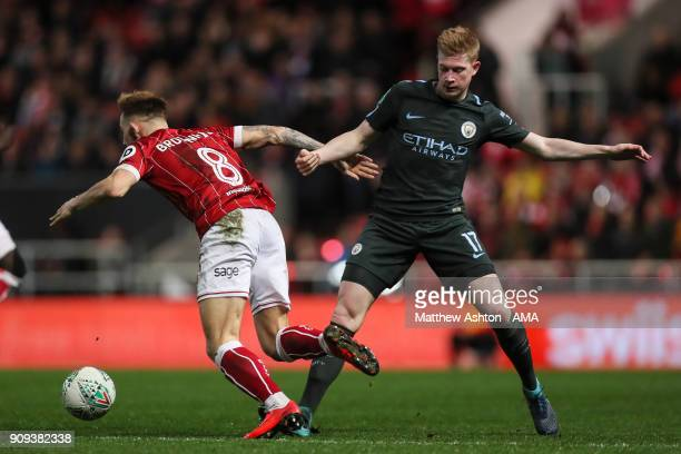Josh Brownhill of Bristol City and Kevin De Bruyne of Manchester City during the Carabao Cup SemiFinal Second Leg between Bristol City and Manchester...