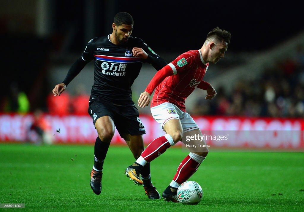 Josh Brownhill of Bristol City and Ruben Loftus-Cheek of Crystal Palace during the Caraboa Cup Fourth Round match between Bristol City and Crystal Palace at Ashton Gate on October 24, 2017 in Bristol, England.