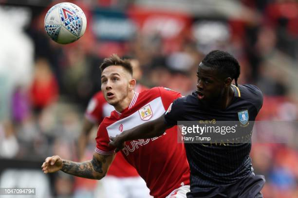 Josh Brownhill of Bristol City battles for possession with Joshua Onomah of Sheffield Wednesday during the Sky Bet Championship match between Bristol...