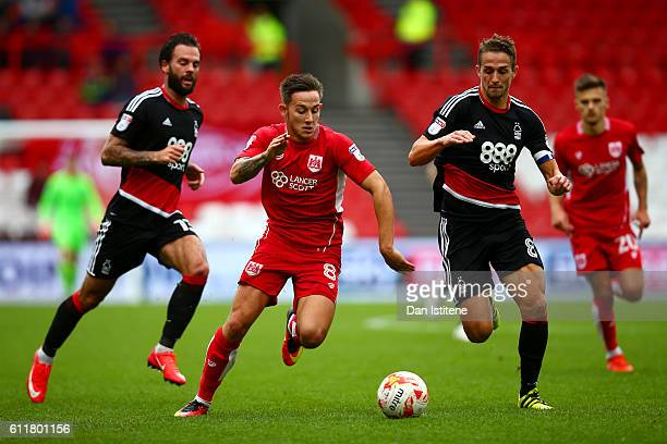 Josh Brownhill of Bristol City battles for the ball with Chris Cohen of Nottingham Forest during the Sky Bet Championship match between Bristol City...