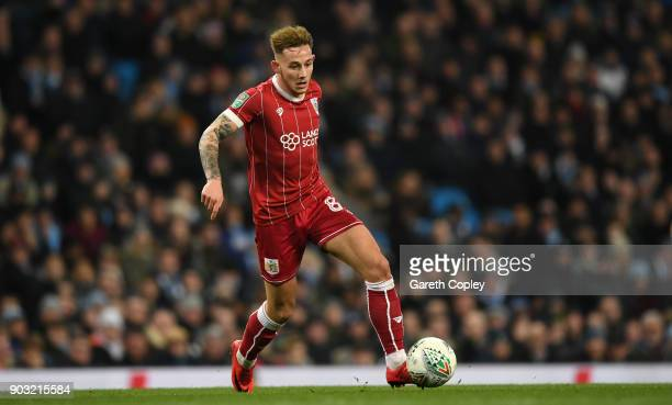 Josh Brownhill of Bristol City during the Carabao Cup SemiFinal First Leg match between Manchester City and Bristol City at Etihad Stadium on January...
