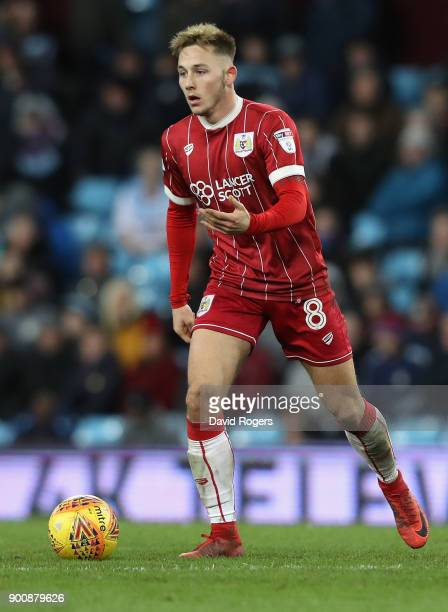 Josh Brownhill of Bristol City runs with the ball during the Sky Bet Championship match between Aston Villa and Bristol City at Villa Park on January...