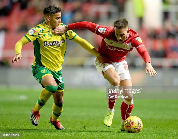 Josh Brownhill of Bristol City takes on Max Aarons of Norwich City during the Sky Bet Championship match between Bristol City and Norwich City at...