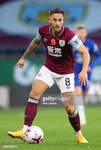 Josh Brownhill of Burnley during the Premier League match between Burnley and Chelsea at Turf Moor on October 31 2020 in Burnley England Sporting...