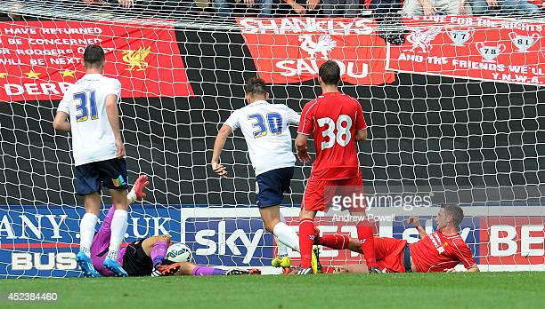 Josh Brownhill of Preston North End scores the opening goal during the Pre Season friendly match between Preston North End and Liverpool at Deepdale...