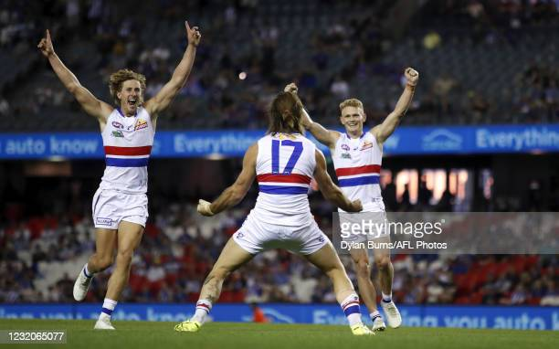 Josh Bruce of the Bulldogs kicks his 10th goal during the 2021 AFL Round 03 match between the North Melbourne Kangaroos and the Western Bulldogs at...