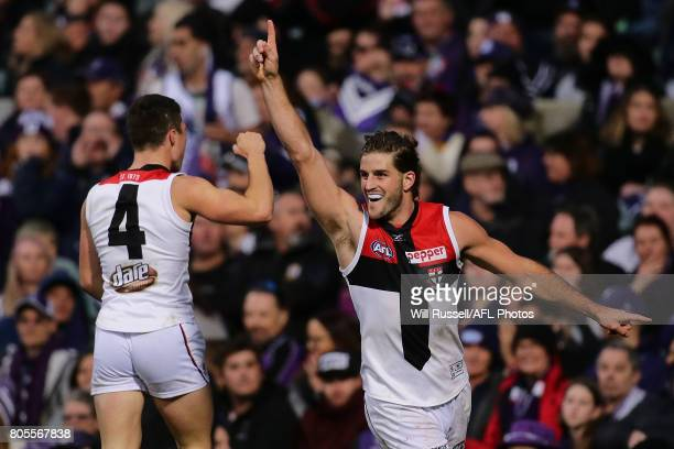 Josh Bruce of the Saints celebrates after scoring the winning goal on the siren during the round 15 AFL match between the Fremantle Dockers and the...