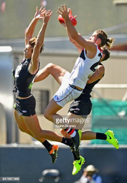 Josh Bruce of the Saints marks during the 2017 JLT Community Series AFL match between the Carlton Blues and the St Kilda Saints at Ikon Park on March...
