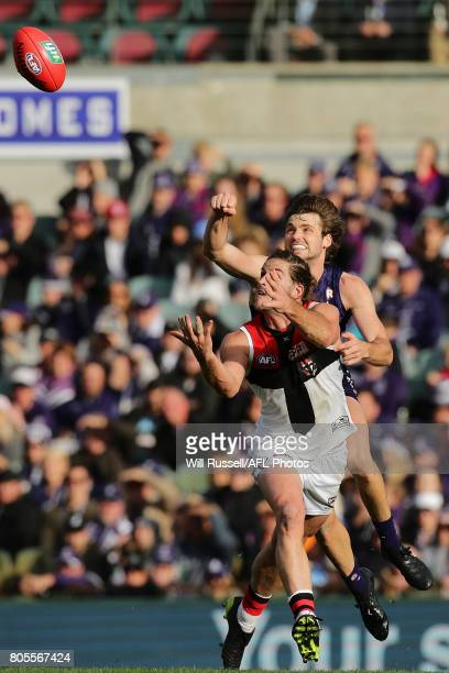 Josh Bruce of the Saints marks the ball during the round 15 AFL match between the Fremantle Dockers and the St Kilda Saints at Domain Stadium on July...