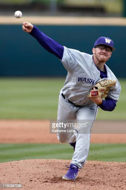 Josh Burgmann of University of Washington throws a pitch during a baseball game against UCLA at Jackie Robinson Stadium on May 19 2019 in Los Angeles...