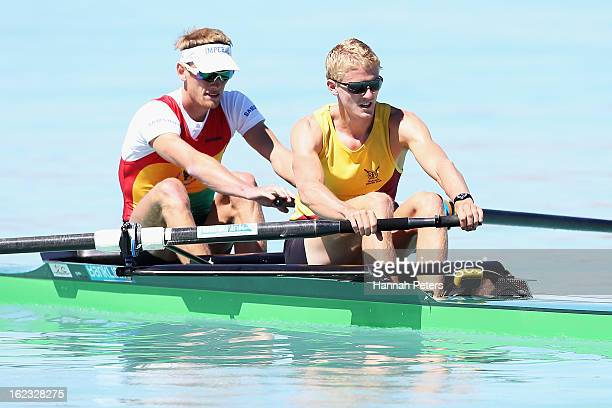 Josh Butler and Adam Ling of Waikato compete in the Men's Lightweight 2 final during the New Zealand Rowing Championships at Lake Ruataniwha on...
