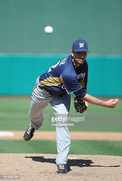 Josh Butler of the Milwaukee Brewers pitches against the Chicago Cubs at HoHokam Stadium on March 14 2012 in Mesa Arizona