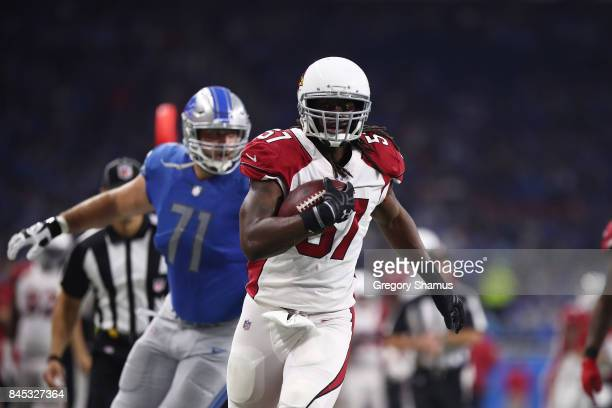 Josh Bynes of the Arizona Cardinals runs the ball in the game against the Detroit Lions Ford Field on September 10, 2017 in Detroit, Michigan.