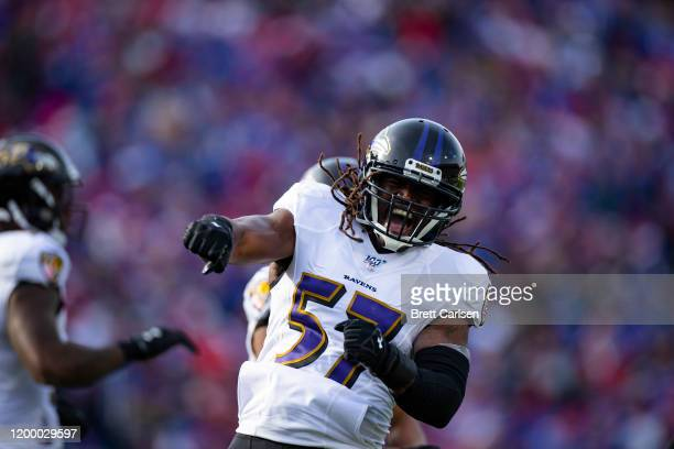 Josh Bynes of the Baltimore Ravens celebrates after sacking Josh Allen of the Buffalo Bills during the first quarter at New Era Field on December 8,...