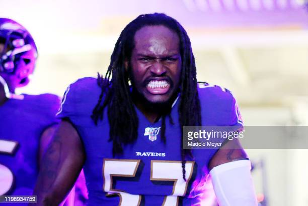 Josh Bynes of the Baltimore Ravens reacts in the tunnel before the AFC Divisional Playoff game against the Tennessee Titans at M&T Bank Stadium on...
