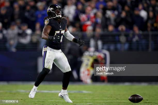 Josh Bynes of the Baltimore Ravens reacts to a play against the New England Patriots during the second half at M&T Bank Stadium on November 3, 2019...