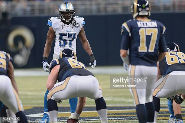 Josh Bynes of the Detroit Lions during a game against the St. Louis Rams at the Edward Jones Dome on December 13, 2015 in St. Louis, Missouri.