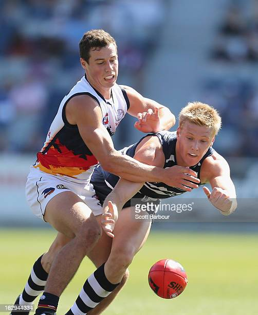 Josh Caddy of the Cats competes for the ball during the round two AFL NAB Cup match between the Geelong Cats and the Adelaide Crows at Simonds...