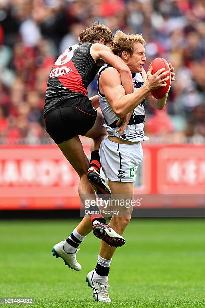 Josh Caddy of the Cats marks infront of Martin Gleeson of the Bombers during the round four AFL match between the Essendon Bombers and the Geelong...