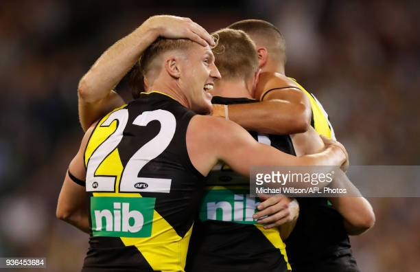 Josh Caddy of the Tigers celebrates during the 2018 AFL round 01 match between the Richmond Tigers and the Carlton Blues at the Melbourne Cricket...