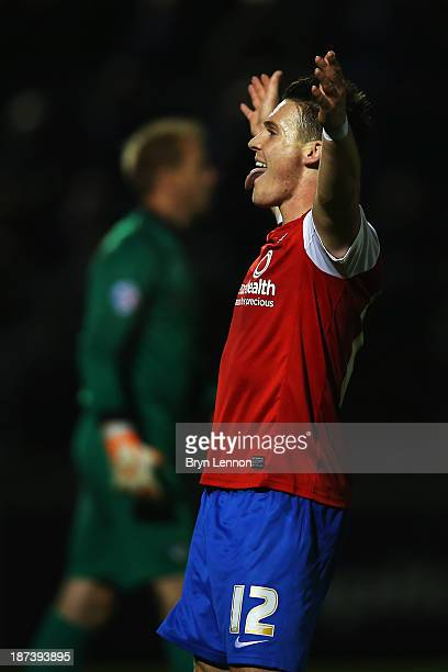 Josh Carson of York City celebrates scoring during the FA Cup First Round match between Bristol Rovers and York City at Memorial Stadium on November...