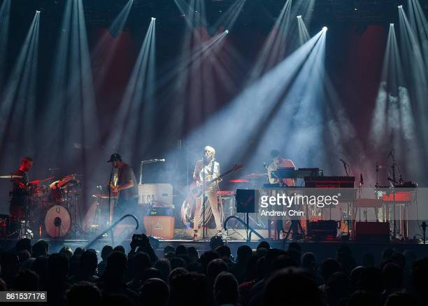 Josh Carter and Sarah Barthel of Phantogram open for Arcade Fire at Pacific Coliseum on October 14 2017 in Vancouver Canada