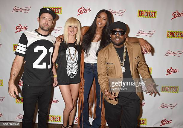 Josh Carter and Sarah Barthel of Phantogram pose with singer Ciara and rapper Big Boi at EpicFest presented by Chairman and CEO of Epic Records LA...