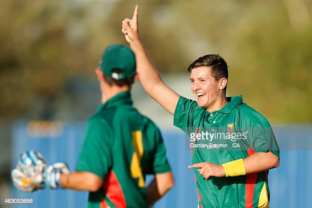 Josh Chapman of Tasmania celebrates a 'hat trick' against Queensland during the 20415 Imparja Cup on February 9 2015 in Alice Springs Australia