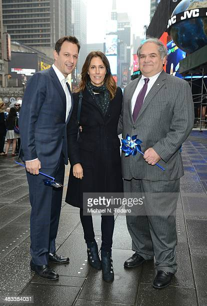 Josh Charles Christina Cuomo and Jim Hmurovich attend The Big Pinwheel Garden In NYC For Child Abuse Prevention Month at Times Square Broadway Plaza...